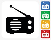 Radio Icon. This 100% royalty free vector illustration features the main icon pictured in black inside a white square. The alternative color options in blue, green, yellow and red are on the right of the icon and are arranged in a vertical column.