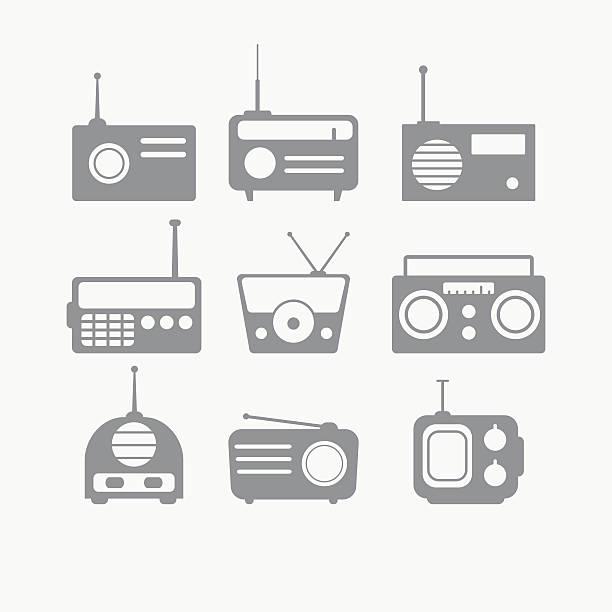 ilustrações, clipart, desenhos animados e ícones de rádio conjunto de objetos isolados - ícones de festas e estações