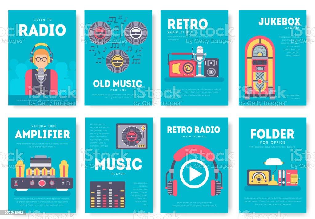 Radyo Yasam Gunluk Brosur Kartlari Ayarlayin Eski Okul Tv Ekipman
