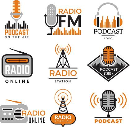 Radio logo. Podcast towers wireless badges radio station symbols vector collection