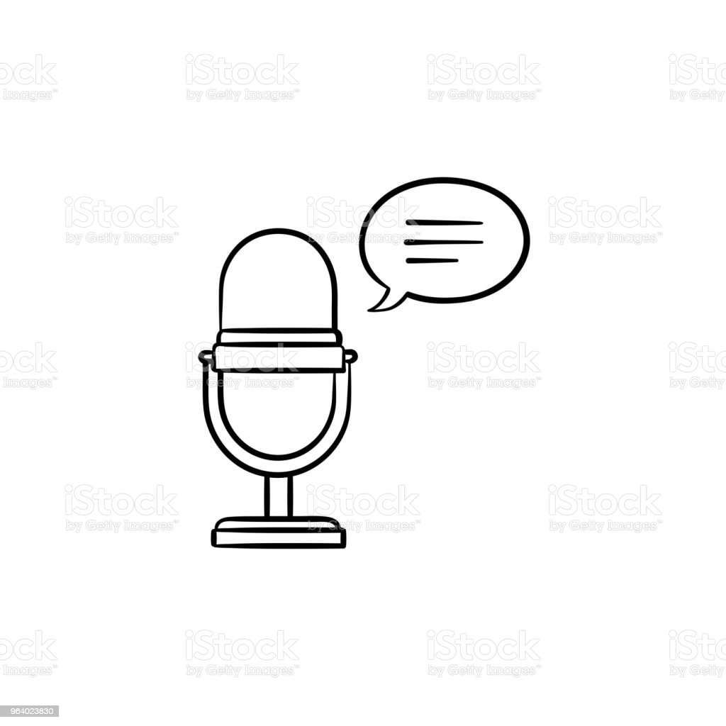Radio microphone hand drawn outline doodle icon - Royalty-free Abstract stock vector
