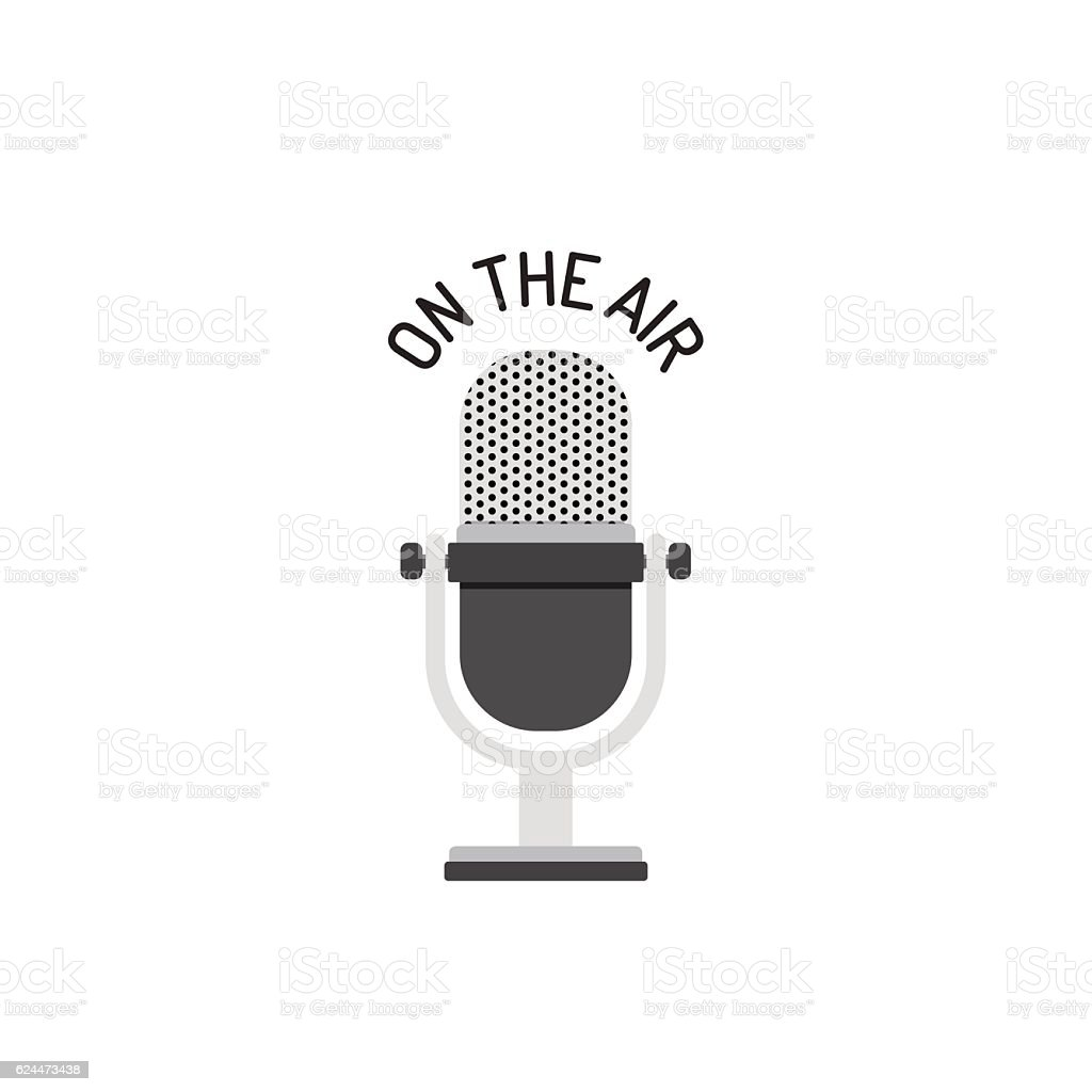 Radio Microphone On The Air vector art illustration