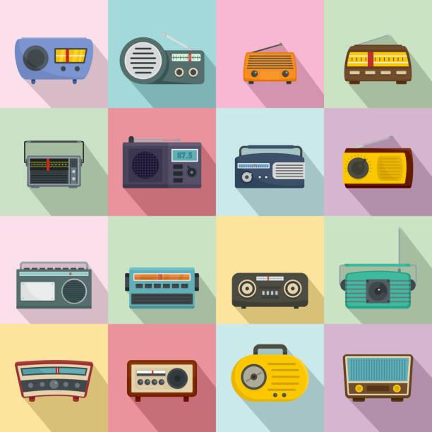 illustrations, cliparts, dessins animés et icônes de radio musique vieux dispositif icônes ensemble, style plat - radio