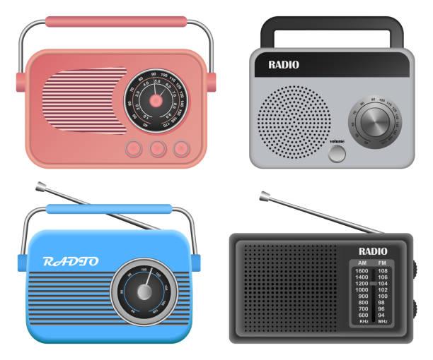 illustrations, cliparts, dessins animés et icônes de radio musique vieil appareil maquette ensemble, style réaliste - radio