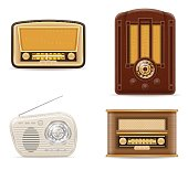 radio old retro vintage set icons stock vector illustration