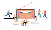 istock Radio online live stream banner with receiver, flat vector illustration isolated. 1255356566