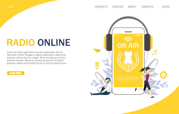 Radio online vector website landing page design template Radio online vector website template, web page and landing page design for website and mobile site development. Microphone on air live stream symbol on smartphone. Internet radio streaming concept. radio stock illustrations
