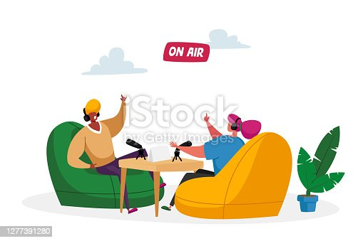 istock Radio or Podcast Streaming Concept. Male and Female Radio Dj Characters in Headset Speak to Microphones, Broadcasting 1277391280