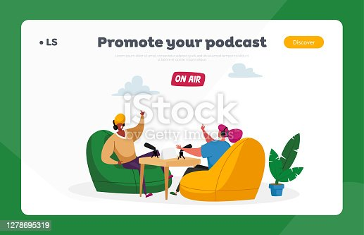 istock Radio or Podcast Streaming Landing Page Template. Radio Dj Characters in Headset Speak to Microphones, Broadcast Program 1278695319
