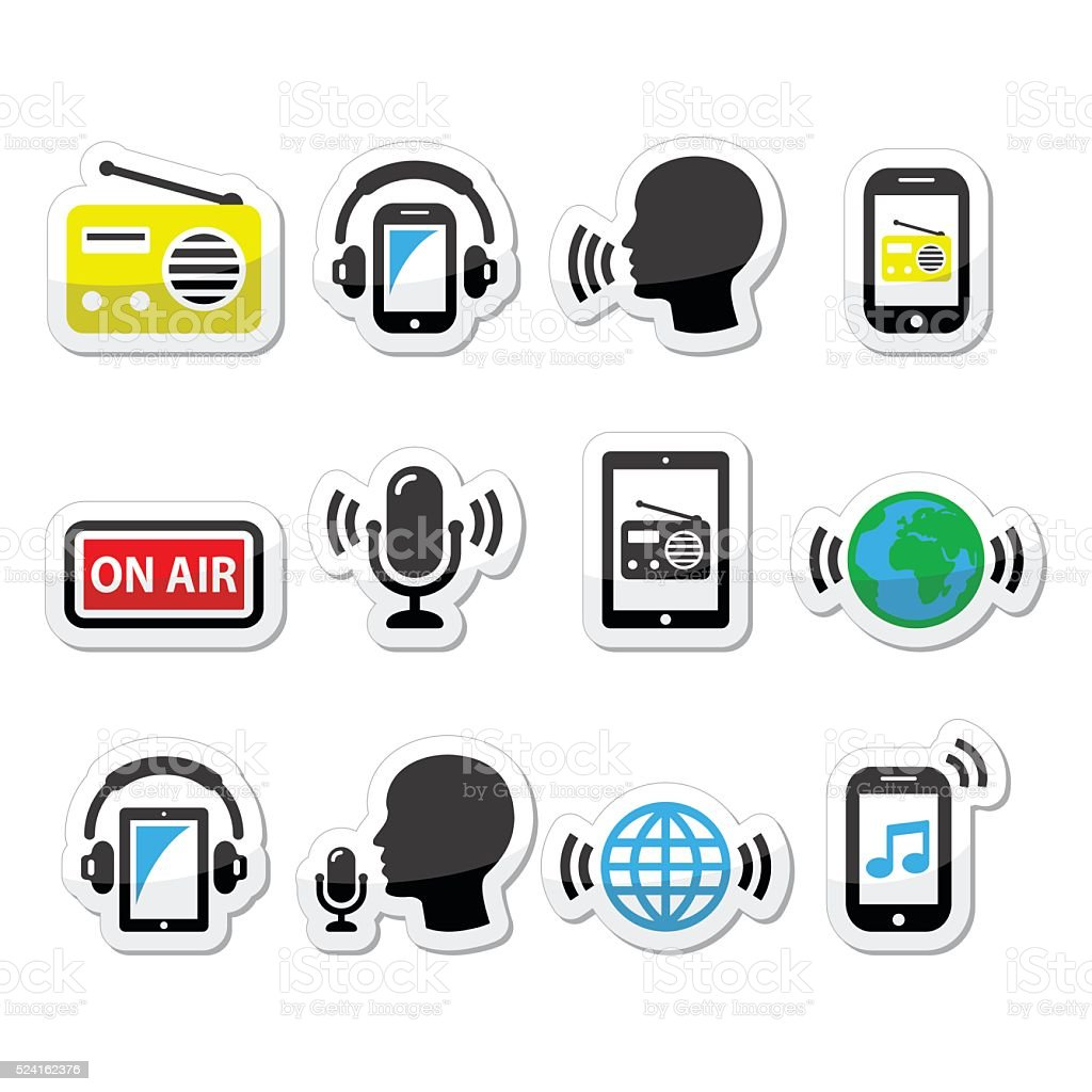 Radio, podcast app on smartphone and tablet icons set vector art illustration