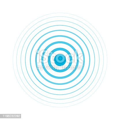 istock Radio signal. Blue rings. Sound wave. Circles. 1195232262