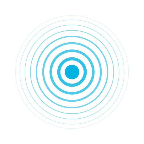 Radio signal. Blue rings. Sound wave. Circles. Radio signal, Blue rings - Sound wave rippled stock illustrations