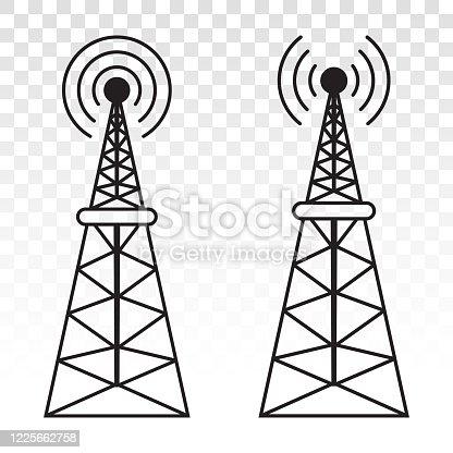 istock Radio signal broadcast tower or mast antenna icon 1225662758