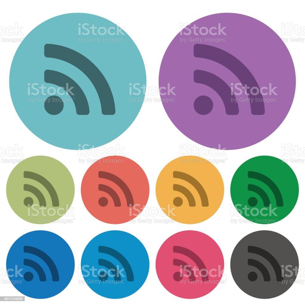 Radio signal color darker flat icons vector art illustration