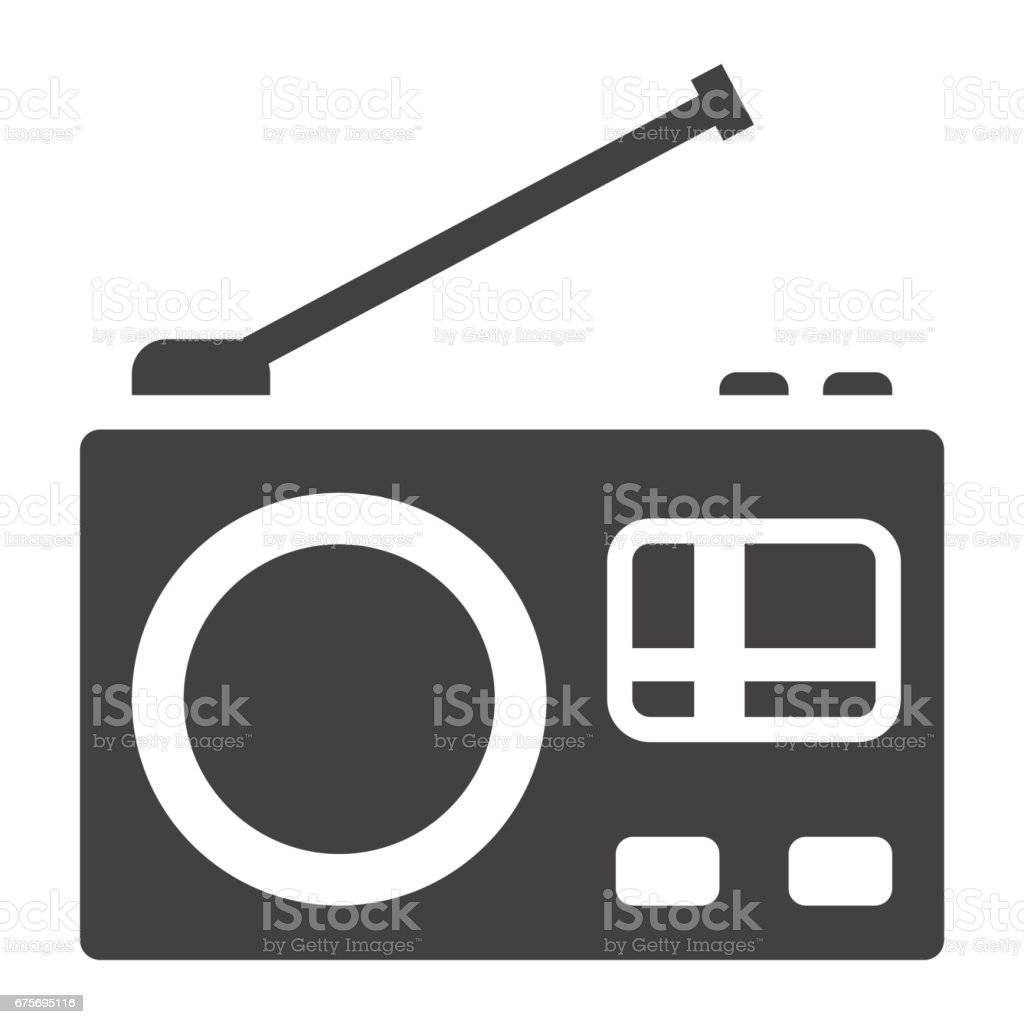 Radio solid icon, communication and website button, vector graphics, a filled pattern on a white background, eps 10. royalty-free radio solid icon communication and website button vector graphics a filled pattern on a white background eps 10 stock vector art & more images of arts culture and entertainment