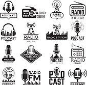 Radio station logo. Music studio podcast speaker vector badges collection. Radio station logo with antenna, broadcast logotype Fm illustration