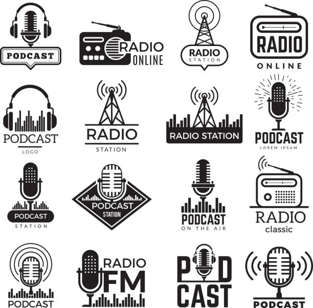 ilustrações de stock, clip art, desenhos animados e ícones de radio station logo. music studio podcast speaker vector badges collection - radio