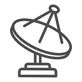 Radio telescope line icon, space concept, satellite dish sign on white background, Satellite antenna icon in outline style for mobile concept and web design. Vector graphics