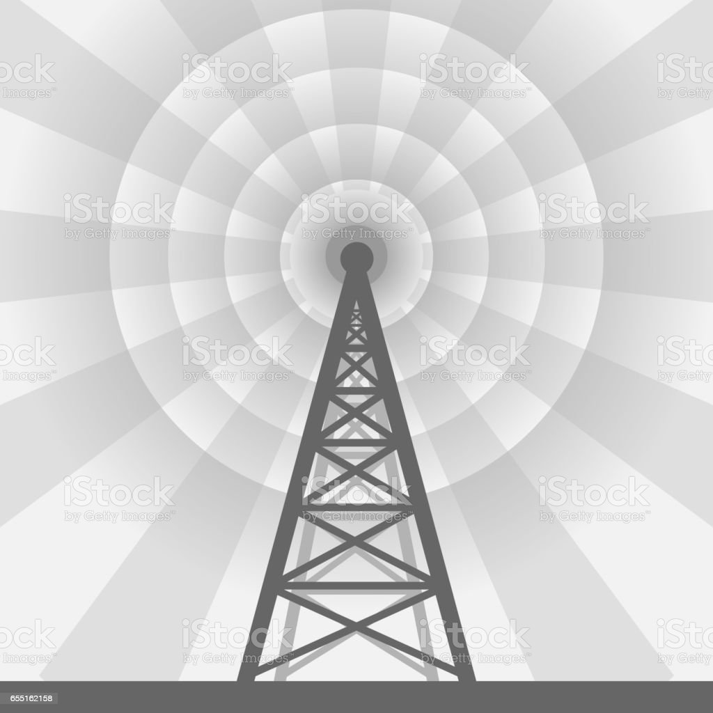 Radio tower background vector art illustration