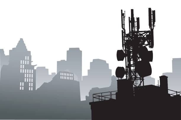 Radio Tower Cityscape Silhouette illustration of a radiowave tower with a skyline in gray as the background repeater tower stock illustrations