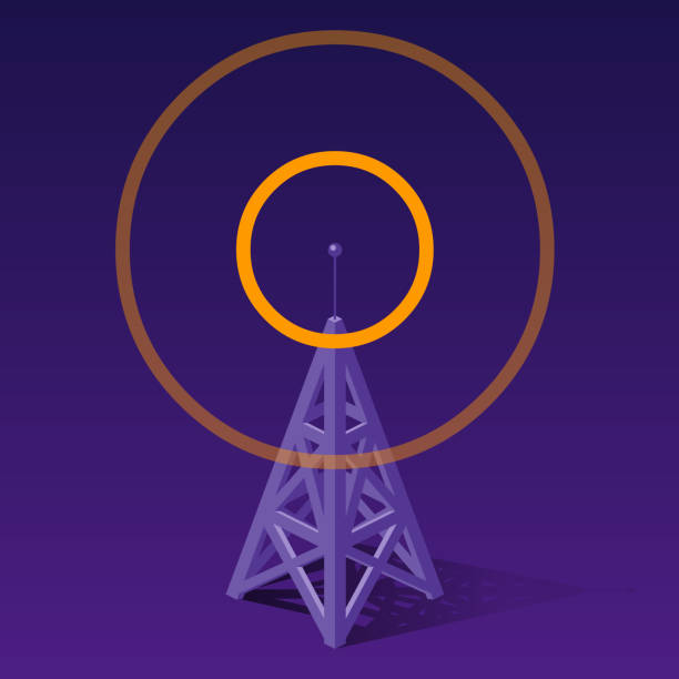 radio tower sending orange frequencies communications tower- repeater tower stock illustrations