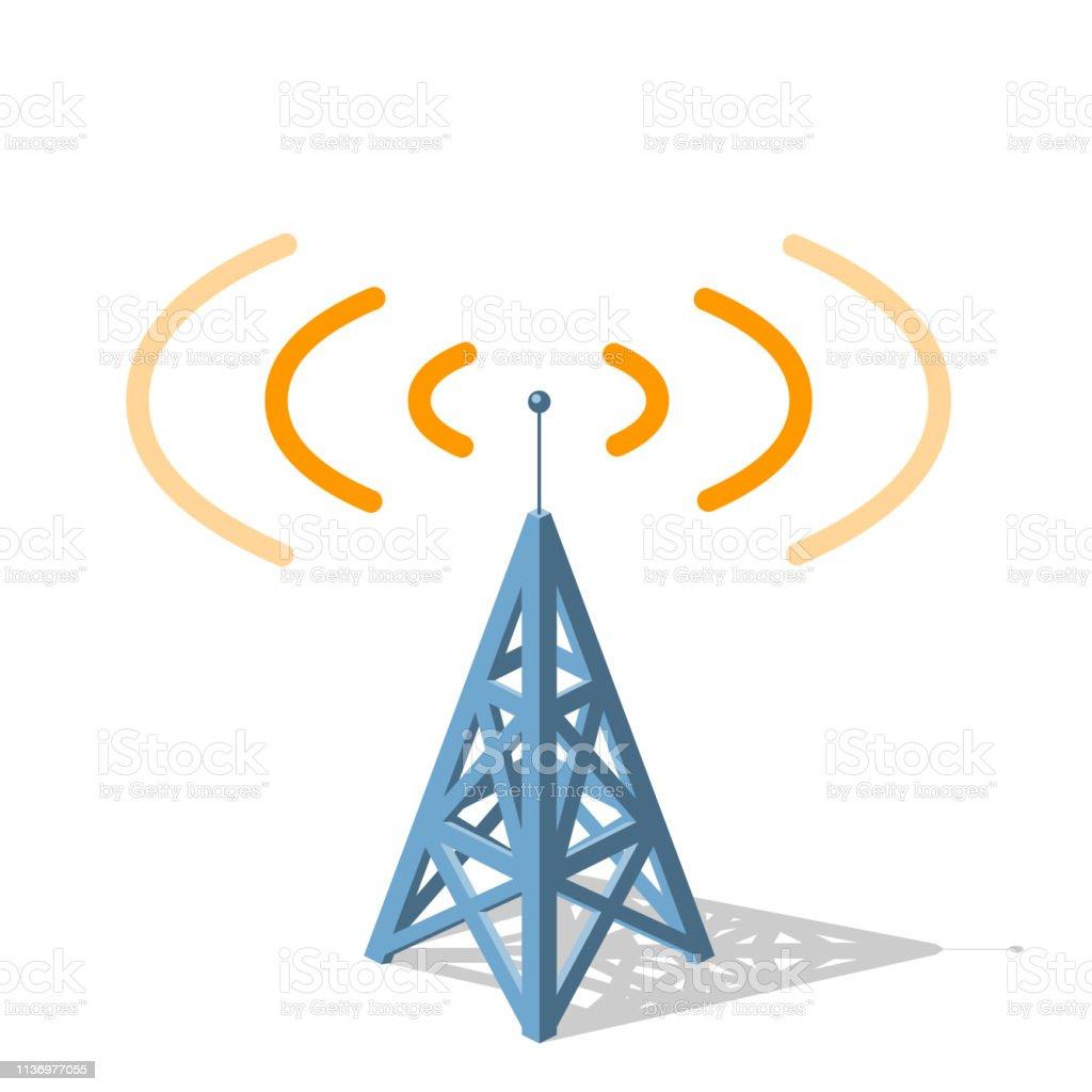 Radio Tower Sending Orange Frequencies Stock Illustration