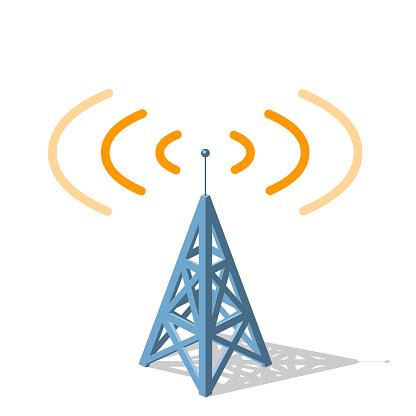 radio tower sending orange frequencies