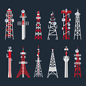 Radio tower set, media and information technology. Telecommunications and broadcasting, television station. Vector flat style cartoon illustration on black background