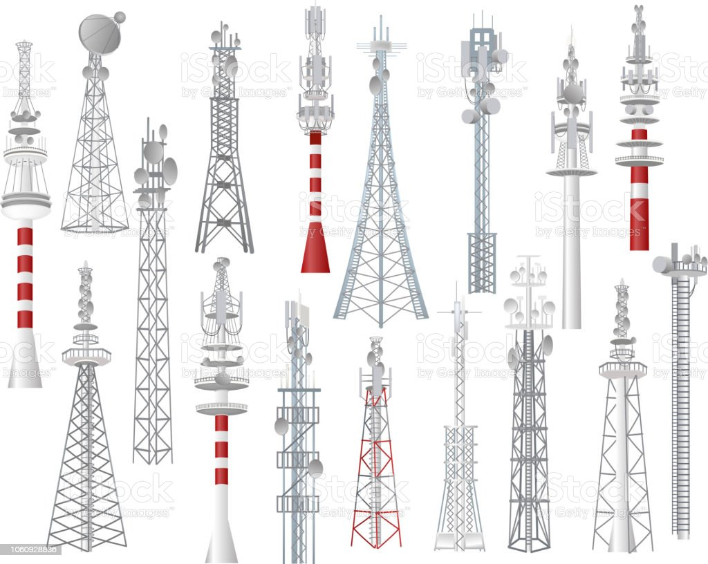 Radio tower vector towered communication technology antenna construction in city with network wireless signal station illustration set of towering broadcast equipment isolated on white background vector art illustration