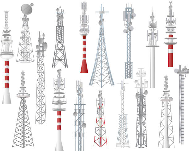 Radio tower vector towered communication technology antenna construction in city with network wireless signal station illustration set of towering broadcast equipment isolated on white background Radio tower vector towered communication technology antenna construction in city with network wireless signal station illustration set of towering broadcast equipment isolated on white background. tower stock illustrations