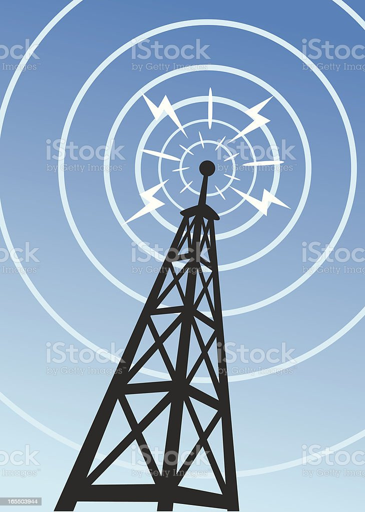 A radio tower with sound waves vector art illustration