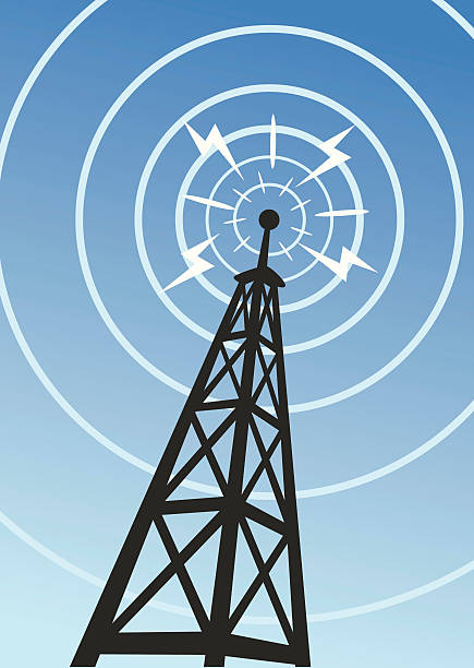 A radio tower with sound waves Great illustration of a radio tower. Perfect for business or telecommunications article. EPS and JPEG files included. Be sure to view my other business illustrations, thanks! broadcasting stock illustrations