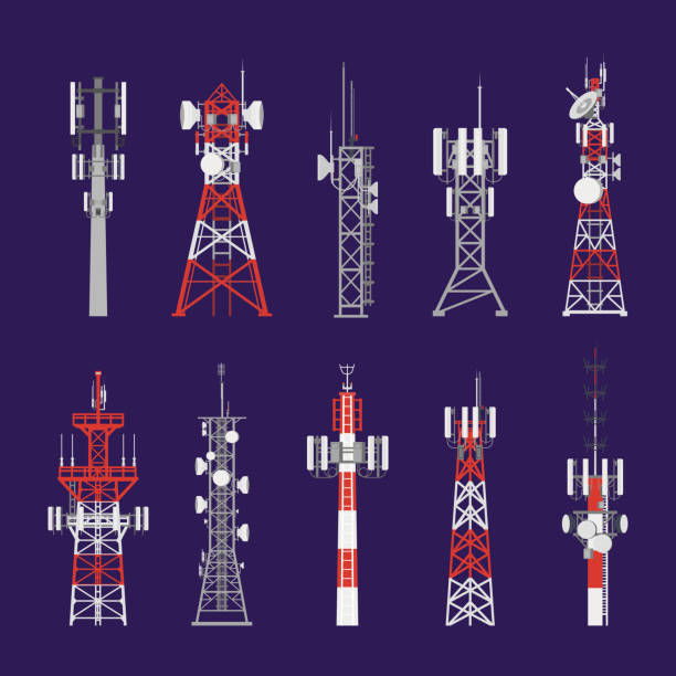 Radio towers, telecommunication antenna poles Radio masts and telecommunication towers and satellite signal antenna transmitters, vector icons. Different types of telecom transmitter towers, television and radio waves broadcasting antenna poles communications tower stock illustrations