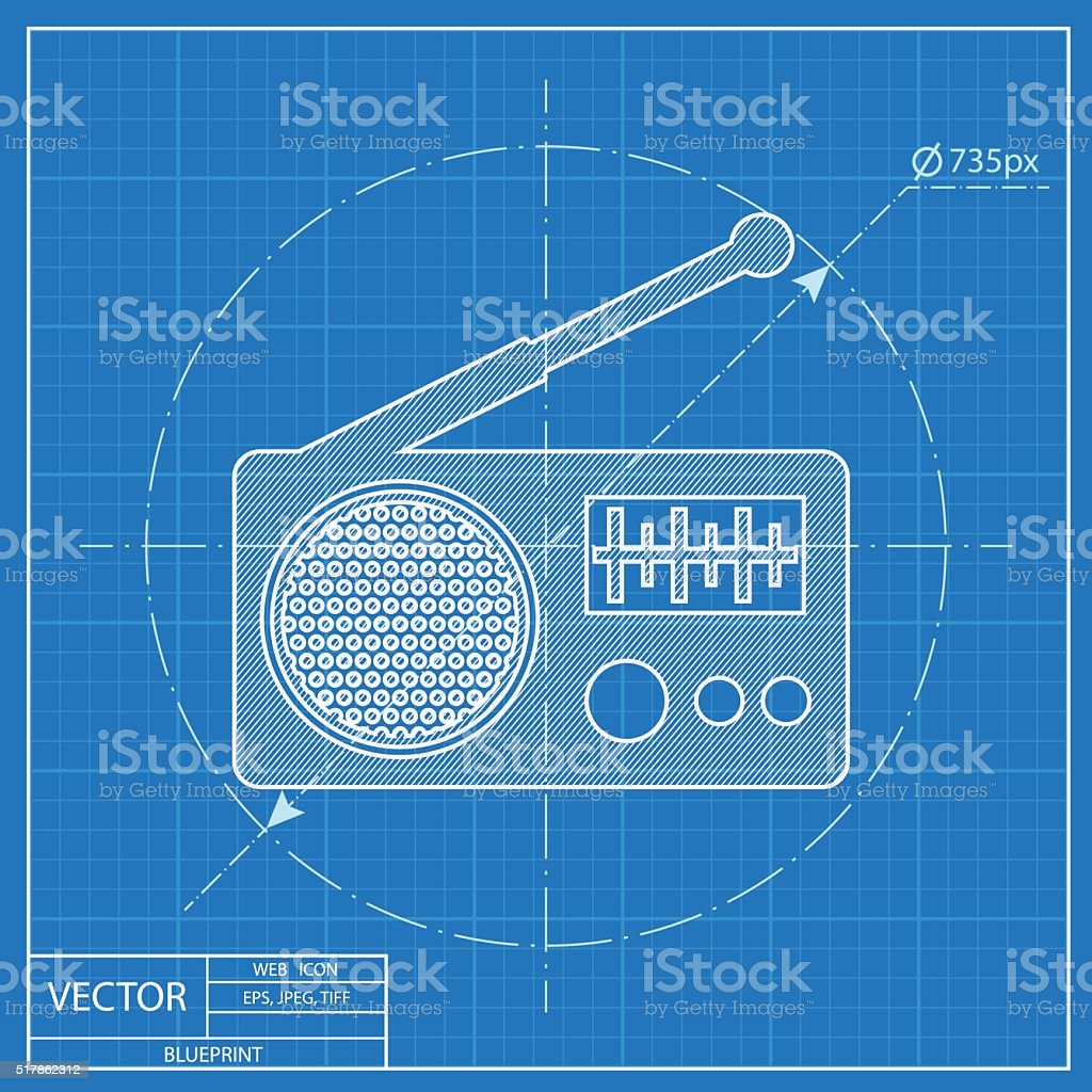 Radio vector blueprint icon stock vector art 517862312 istock radio vector blueprint icon royalty free stock vector art malvernweather Gallery