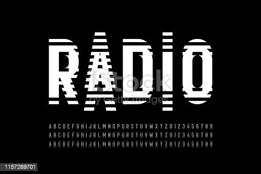 Radio wave style font, alphabet letters and numbers