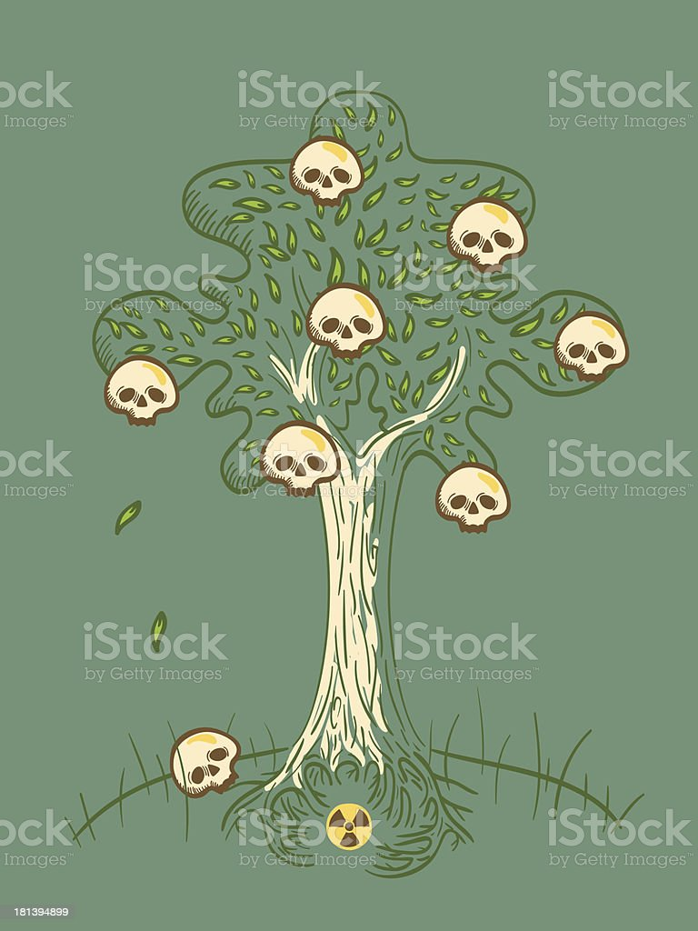 radioactive apple tree with sculls royalty-free stock vector art