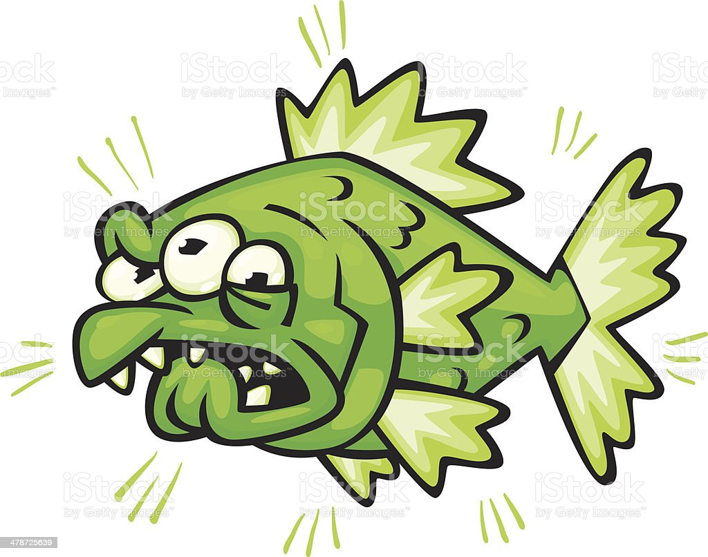 radioactive fish vector art illustration