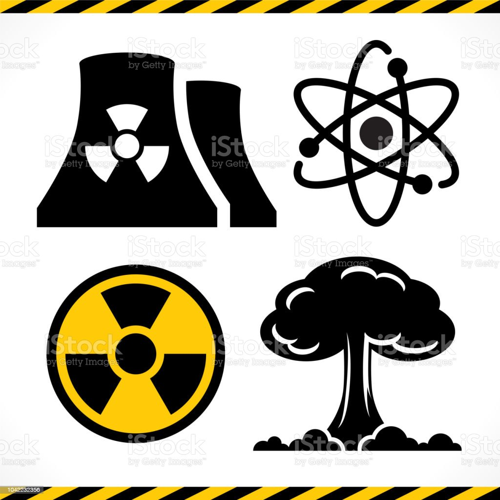 Radioactive, Nuclear power plant, Explosion, Atomic icon set vector