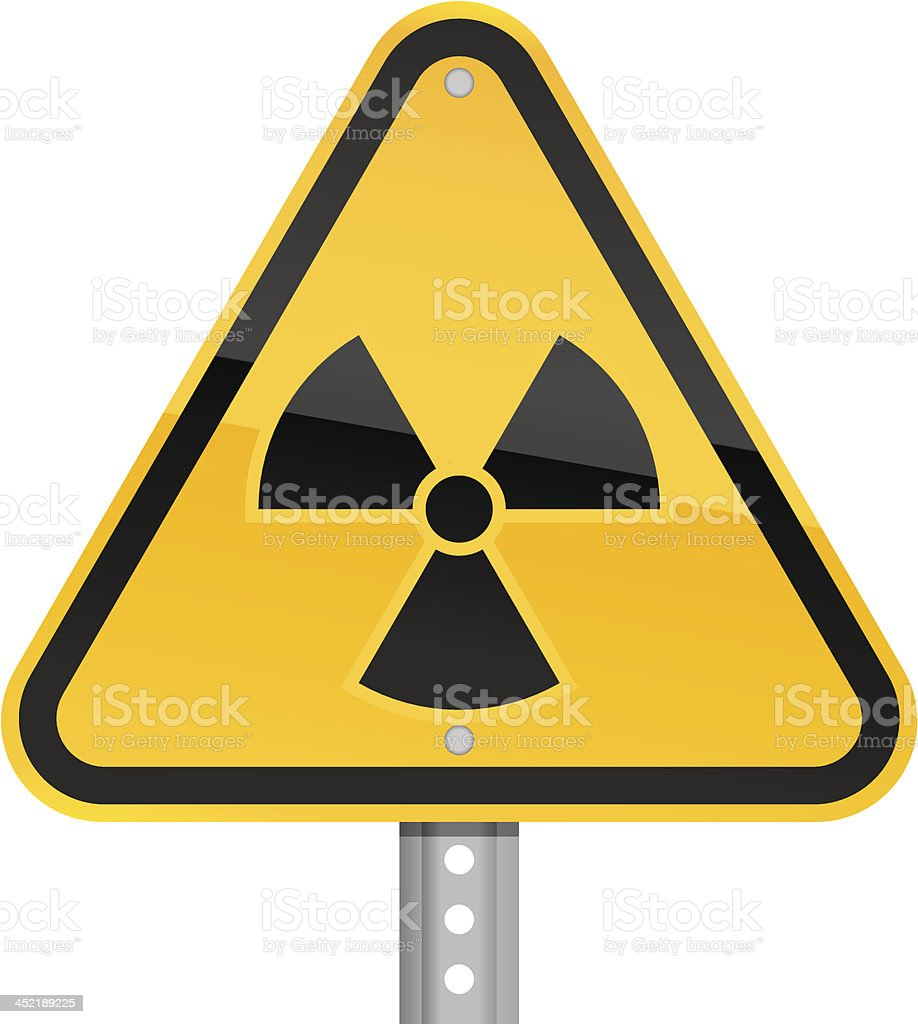 Radioactive pictogram warning triangle yellow road sign white background royalty-free stock vector art