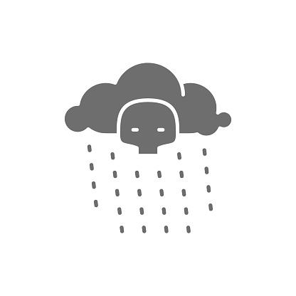 Radioactive rain gray icon. Isolated on white background