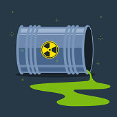 Radioactive substance spilled on the floor from a fallen barrel. flat vector illustration