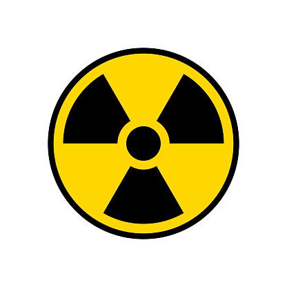 Radioactive warning yellow circle sign. Radioactivity warning vector symbol.