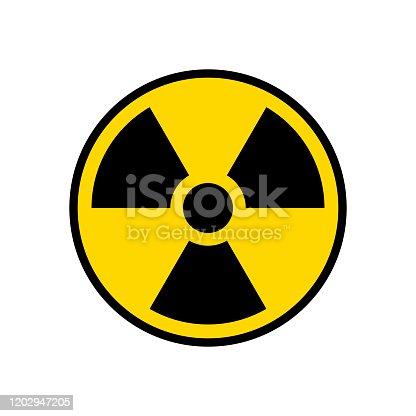 istock Radioactive warning yellow circle sign. Radioactivity warning vector symbol 1202947205