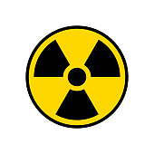 istock Radioactive warning yellow circle sign. Radioactivity warning vector symbol 1202947205
