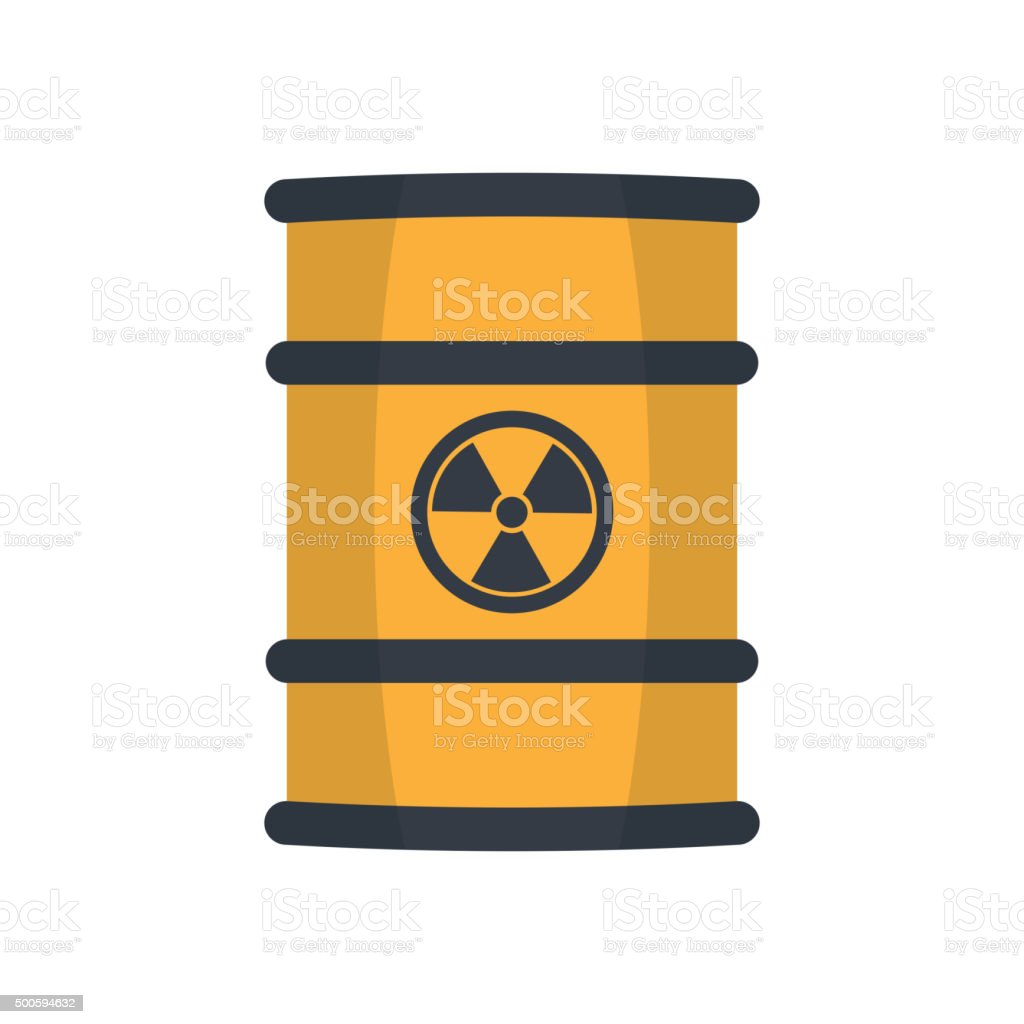 Radioactive waste in barrel. vector art illustration