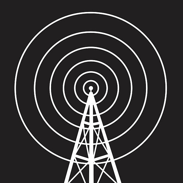 RadioTowerIcon Vector silhouette of a white radio tower against a square black background. repeater tower stock illustrations