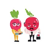 radish flat illustration cartoon character mother and father