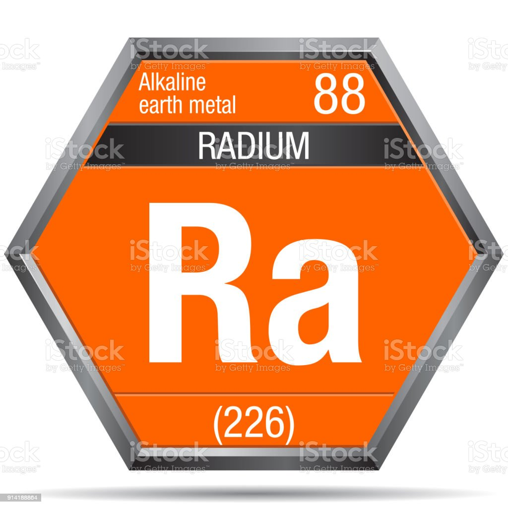 Radium Symbol In The Form Of A Hexagon With A Metallic Frame Element