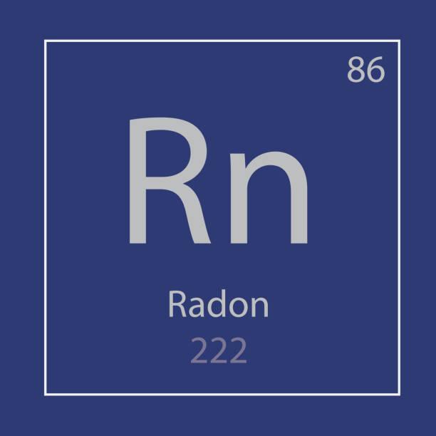 stockillustraties, clipart, cartoons en iconen met pictogram van het chemische element van de rn van radon - radon test