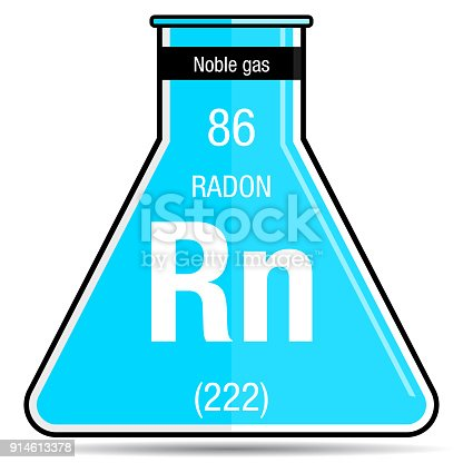 Radon Symbol On Chemical Flask Element Number 86 Of The Periodic